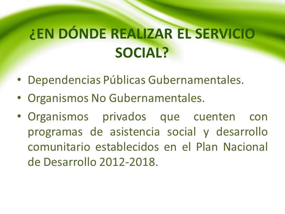 ¿EN DÓNDE REALIZAR EL SERVICIO SOCIAL