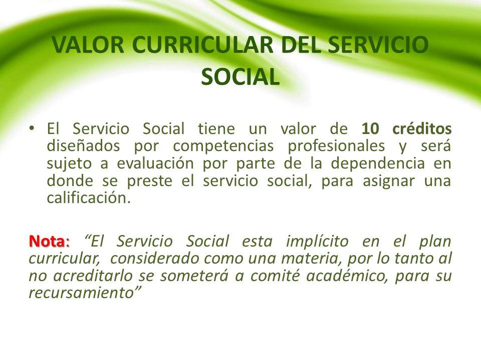 VALOR CURRICULAR DEL SERVICIO SOCIAL