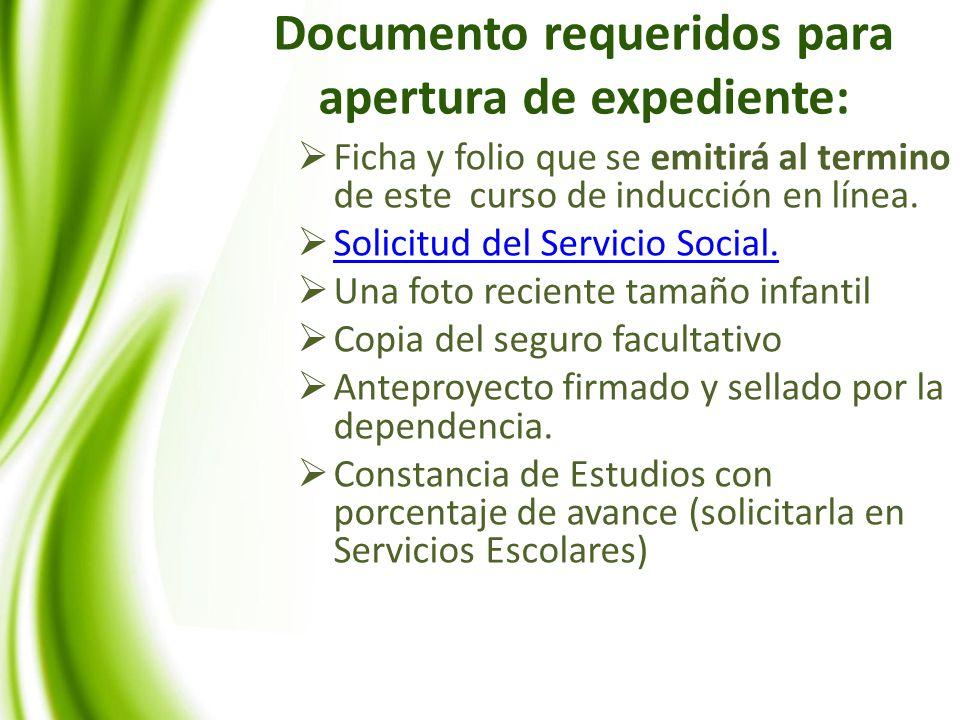Documento requeridos para apertura de expediente: