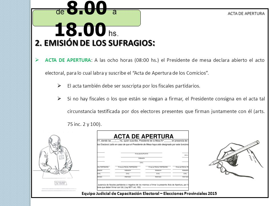 2. EMISIÓN DE LOS SUFRAGIOS:
