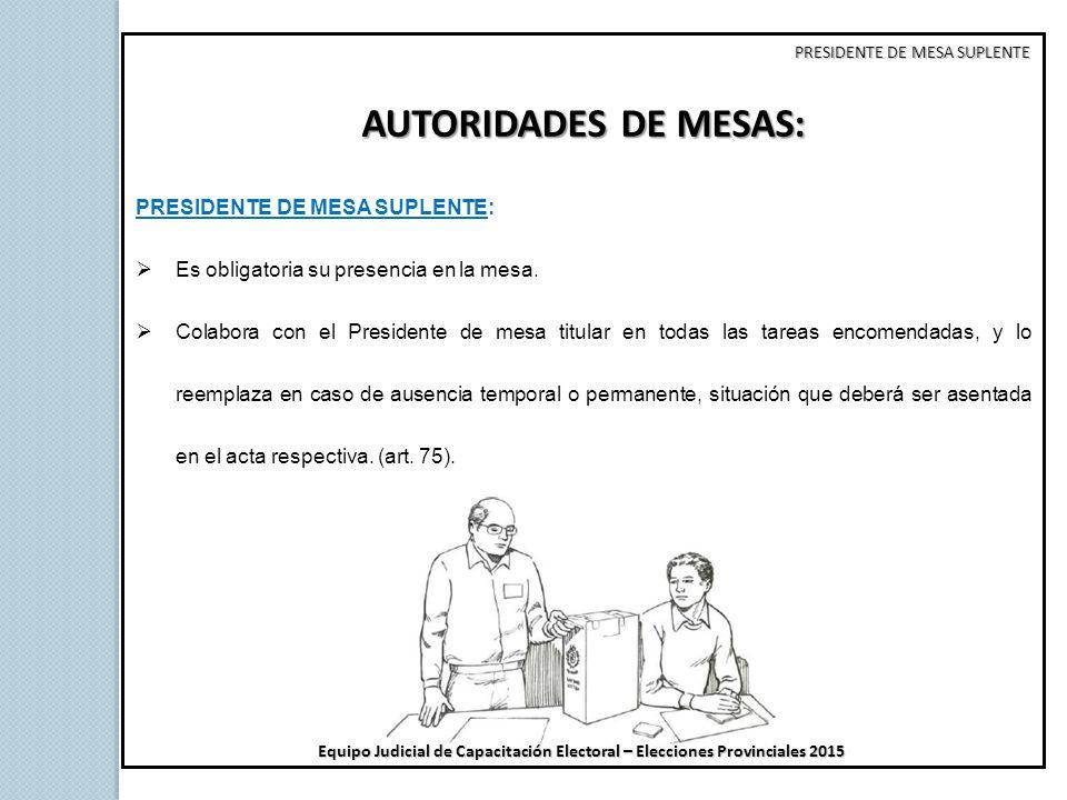 AUTORIDADES DE MESAS: PRESIDENTE DE MESA SUPLENTE: