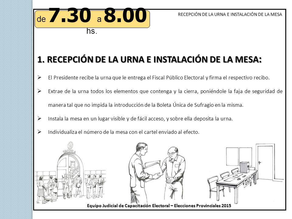 1. RECEPCIÓN DE LA URNA E INSTALACIÓN DE LA MESA: