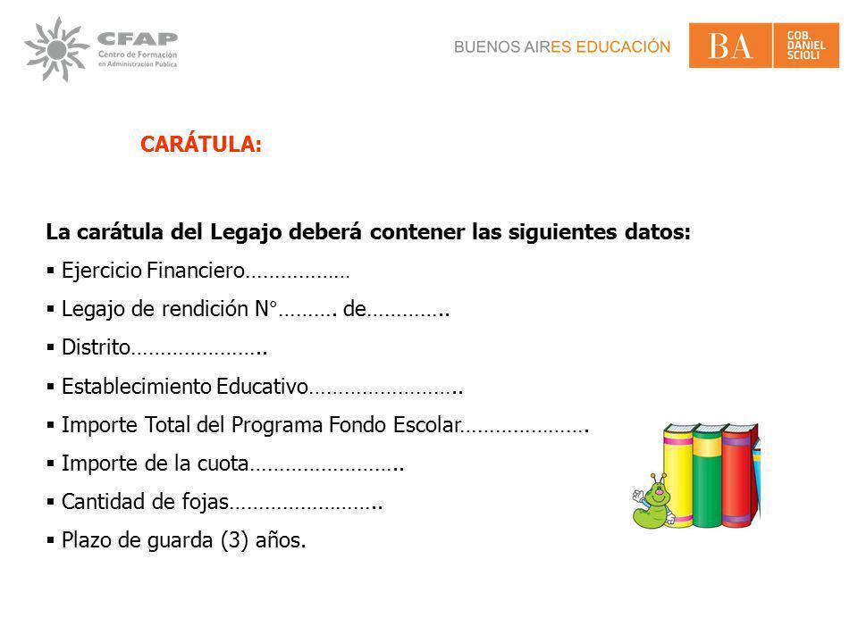 CARÁTULA: La carátula del Legajo deberá contener las siguientes datos: Ejercicio Financiero……………… Legajo de rendición N°………. de…………..