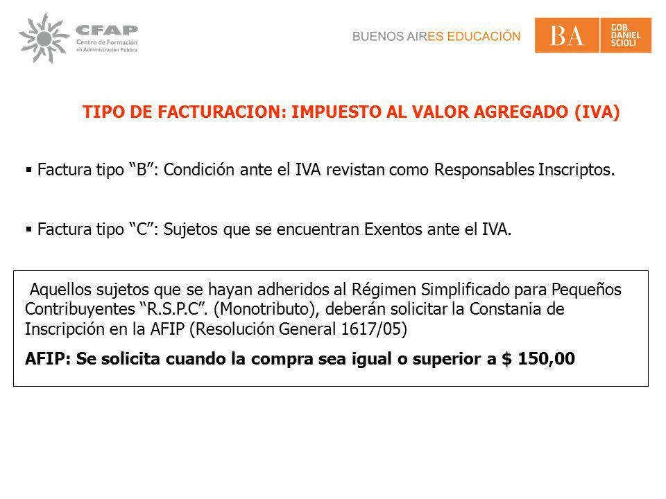 TIPO DE FACTURACION: IMPUESTO AL VALOR AGREGADO (IVA)