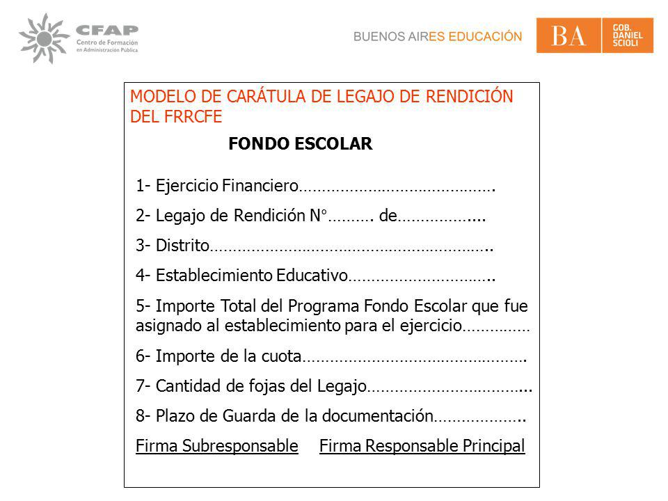MODELO DE CARÁTULA DE LEGAJO DE RENDICIÓN DEL FRRCFE