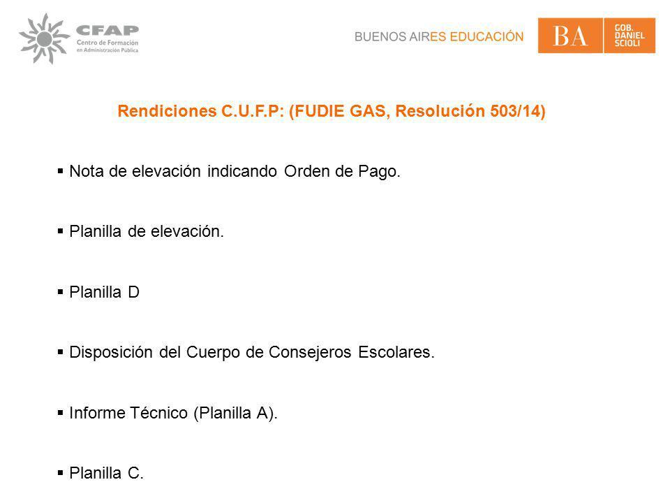 Rendiciones C.U.F.P: (FUDIE GAS, Resolución 503/14)