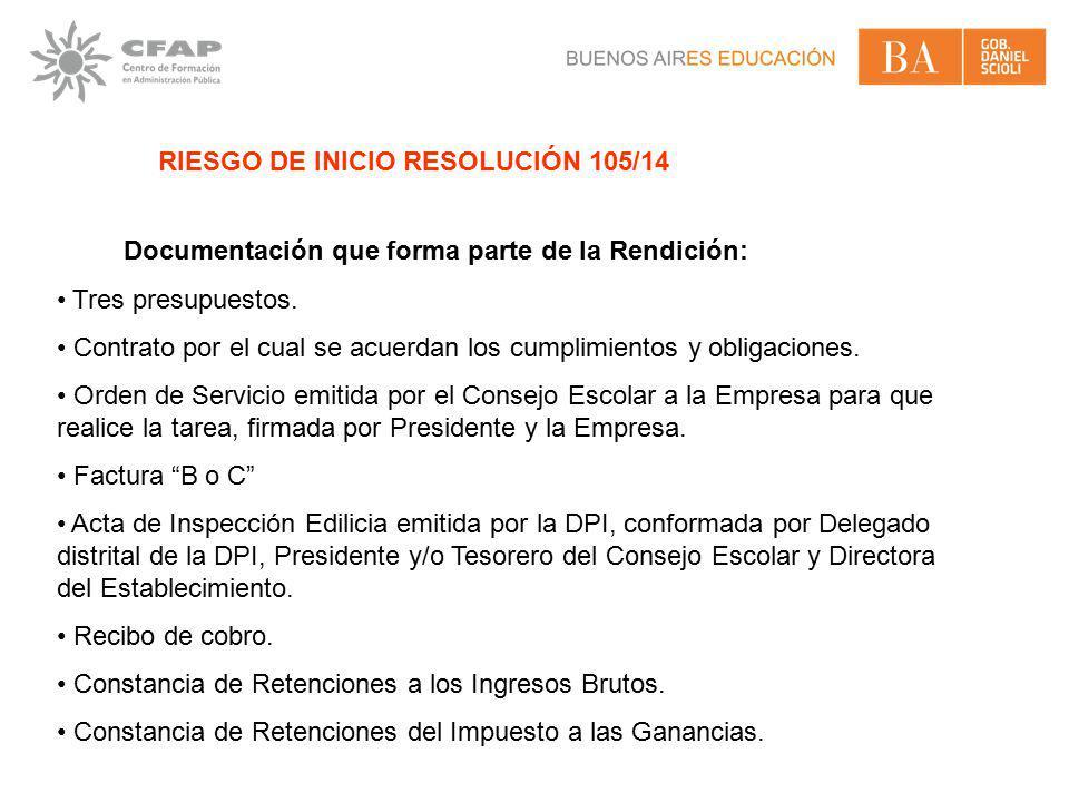 RIESGO DE INICIO RESOLUCIÓN 105/14