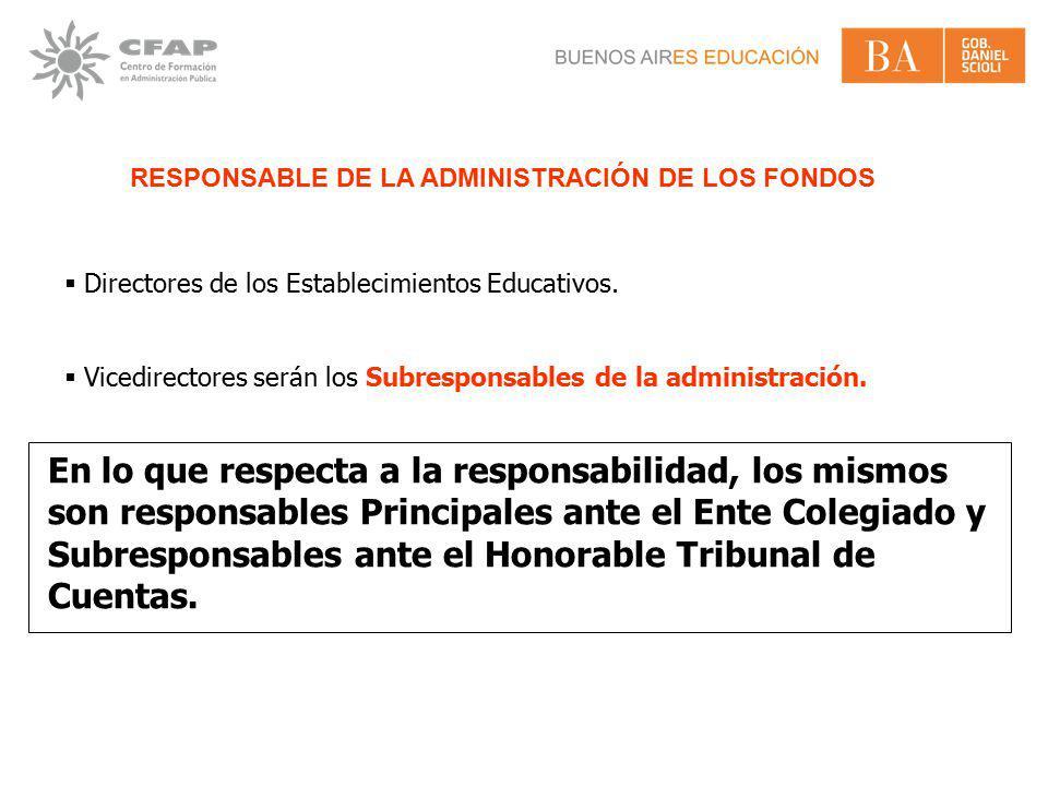 RESPONSABLE DE LA ADMINISTRACIÓN DE LOS FONDOS