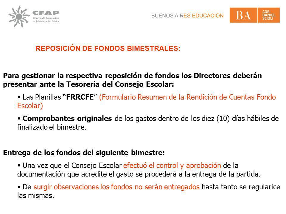 REPOSICIÓN DE FONDOS BIMESTRALES: