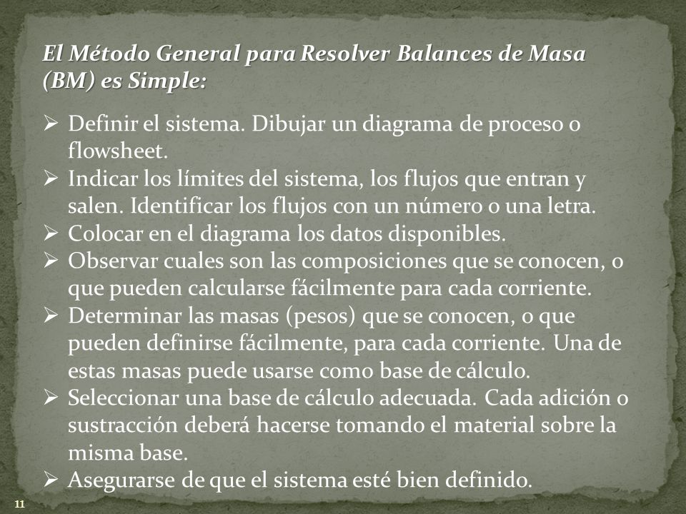 El Método General para Resolver Balances de Masa (BM) es Simple: