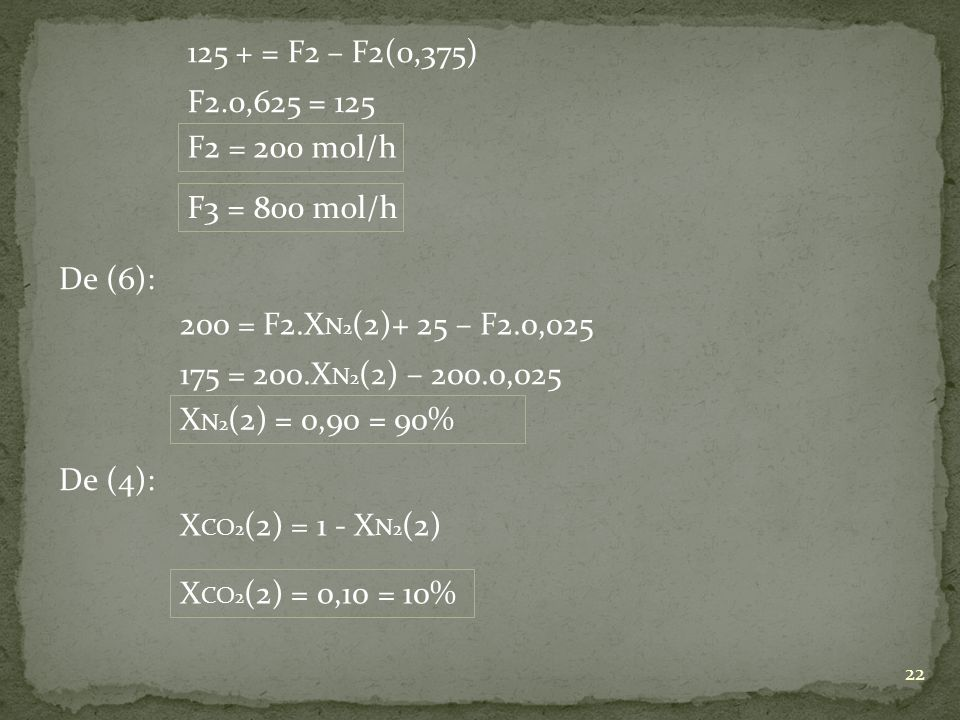 125 + = F2 – F2(0,375) F2.0,625 = 125. F2 = 200 mol/h. F3 = 800 mol/h. De (6): 200 = F2.XN2(2)+ 25 – F2.0,025.