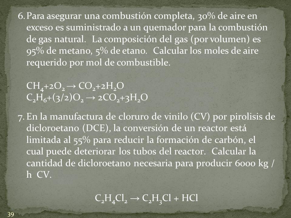 6. Para asegurar una combustión completa, 30% de aire en exceso es suministrado a un quemador para la combustión de gas natural. La composición del gas (por volumen) es 95% de metano, 5% de etano. Calcular los moles de aire requerido por mol de combustible.