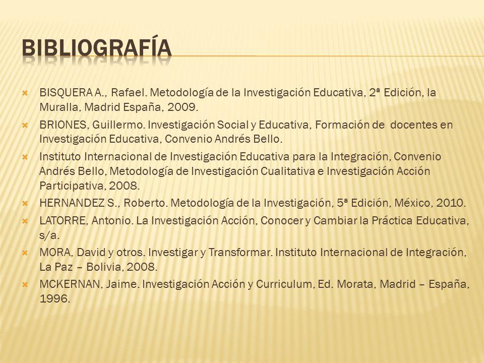 BIBLIOGRAFÍA BISQUERA A., Rafael. Metodología de la Investigación Educativa, 2ª Edición, la Muralla, Madrid España, 2009.