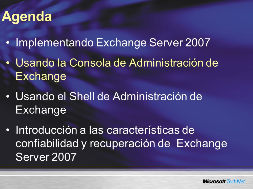 Agenda Implementando Exchange Server 2007