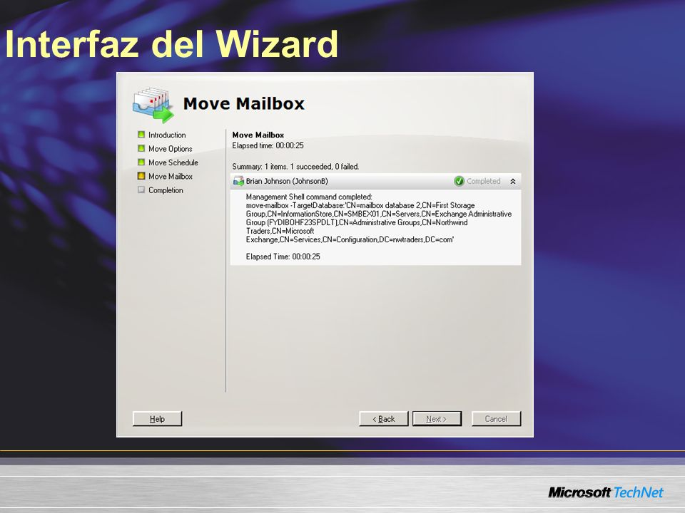 Interfaz del Wizard Slide Title: Wizard Interface Keywords: