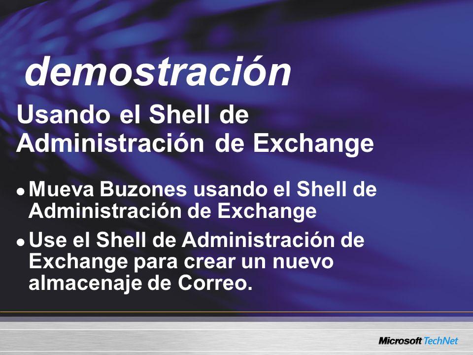 demostración Demo Usando el Shell de Administración de Exchange