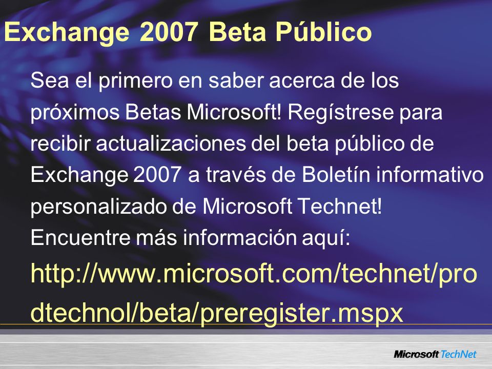 Exchange 2007 Beta Público