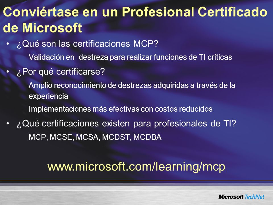 Conviértase en un Profesional Certificado de Microsoft