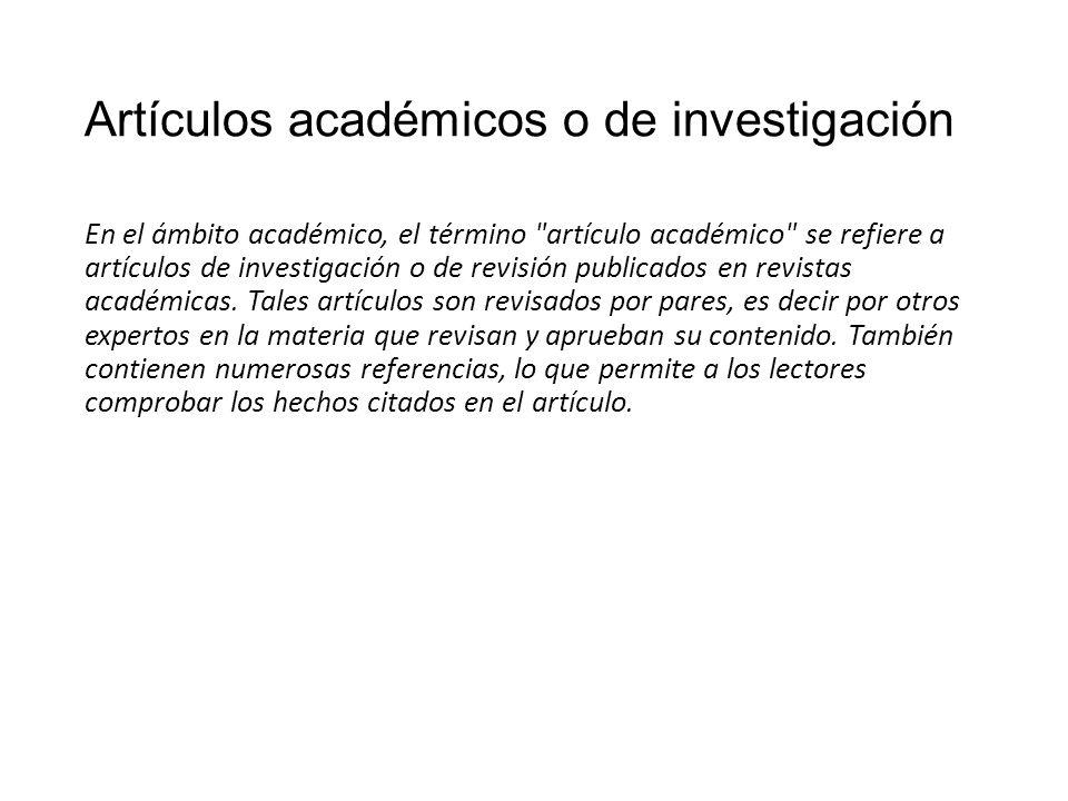 Artículos académicos o de investigación