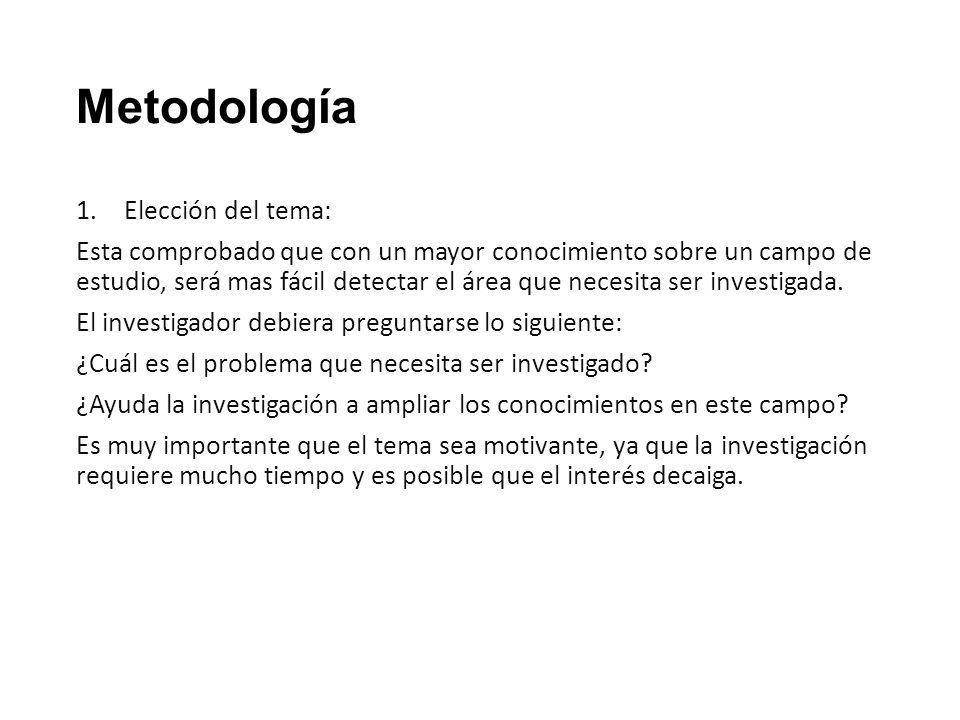 Metodología Elección del tema: