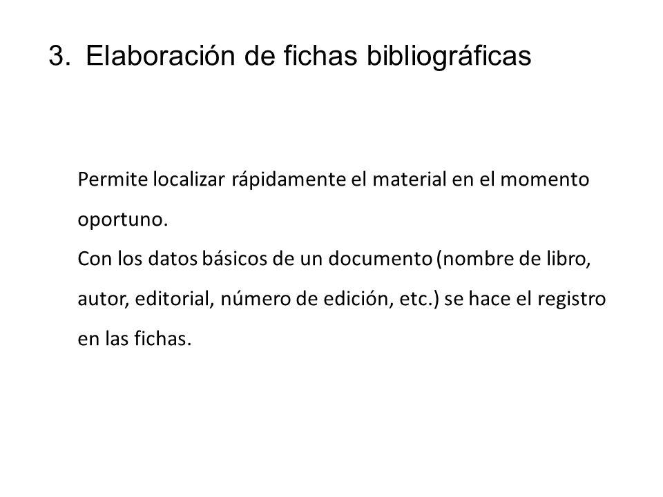 Elaboración de fichas bibliográficas