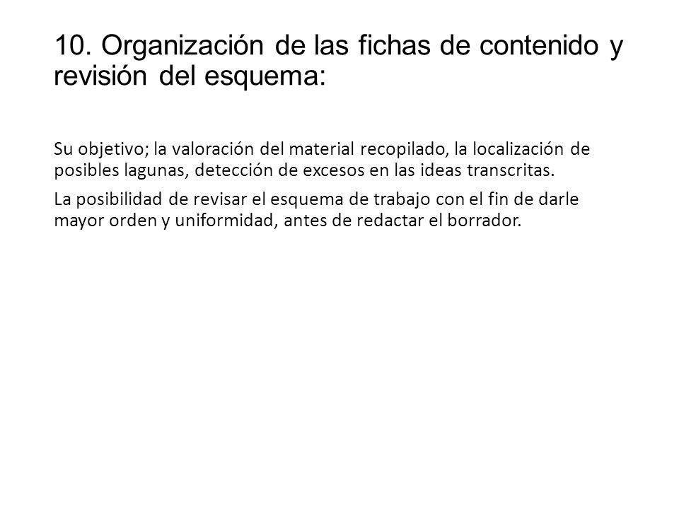 10. Organización de las fichas de contenido y revisión del esquema: