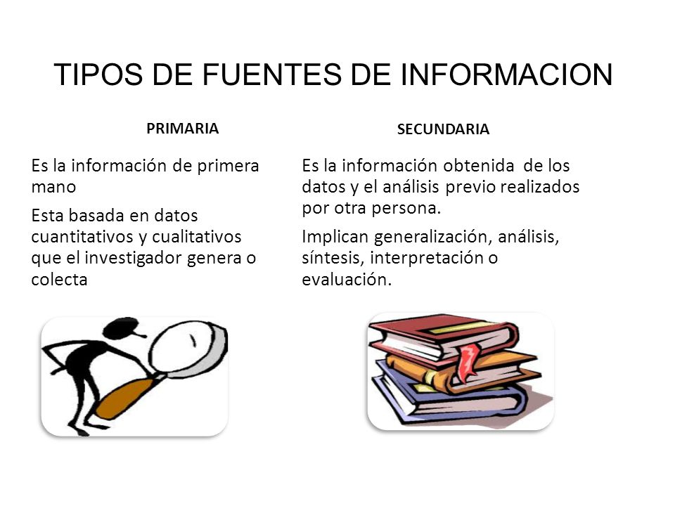 TIPOS DE FUENTES DE INFORMACION