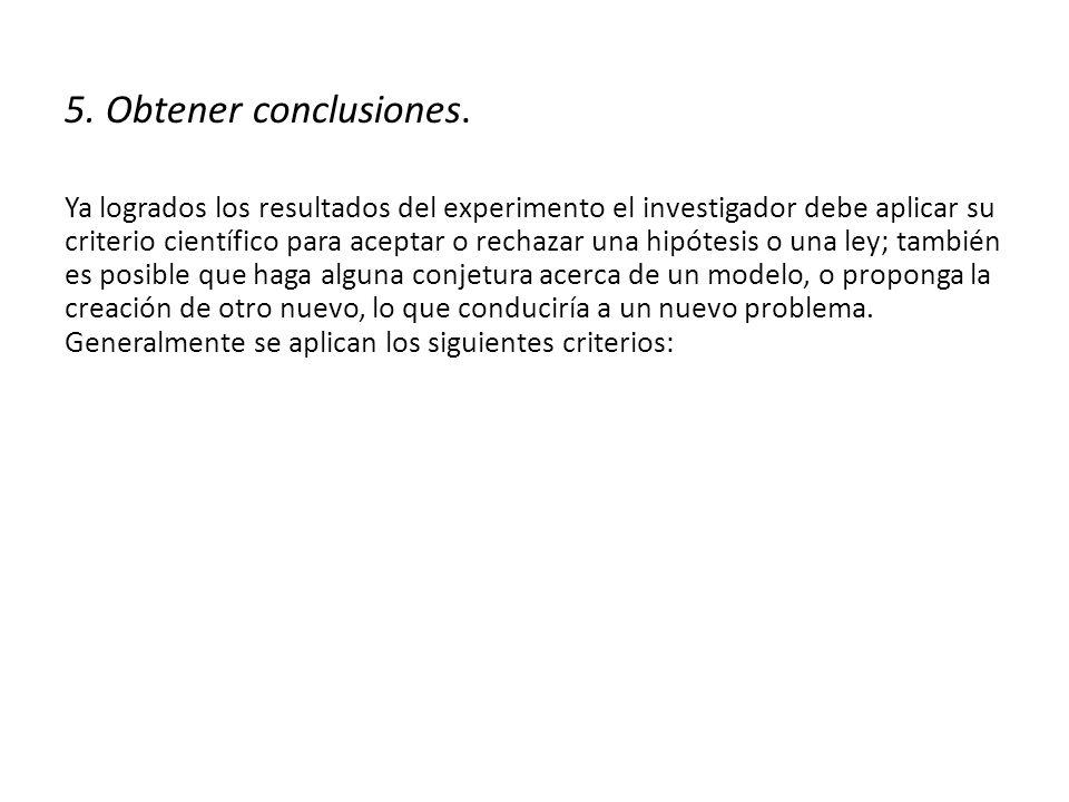 5. Obtener conclusiones.