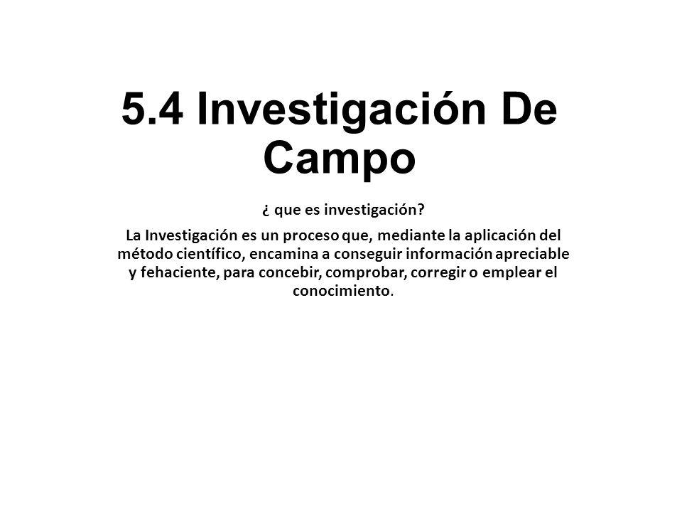5.4 Investigación De Campo