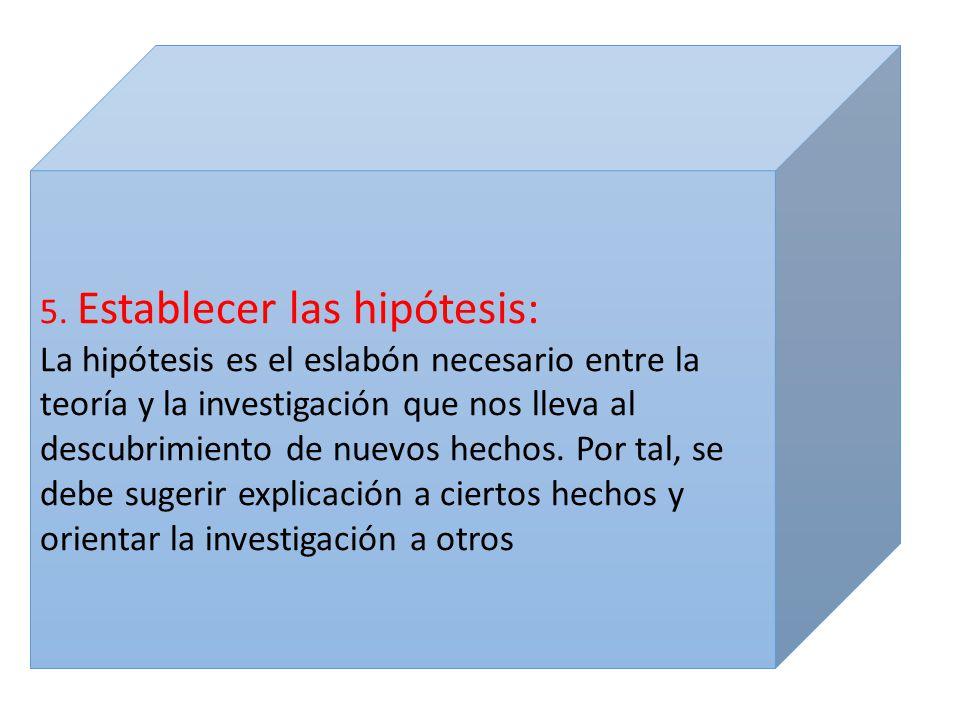 5. Establecer las hipótesis: