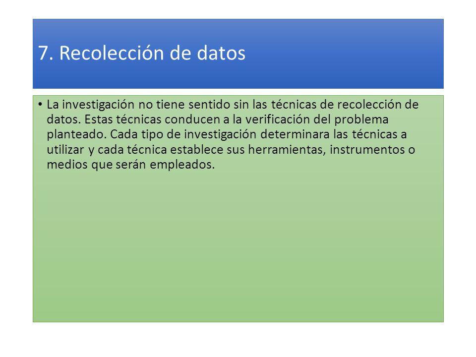 7. Recolección de datos