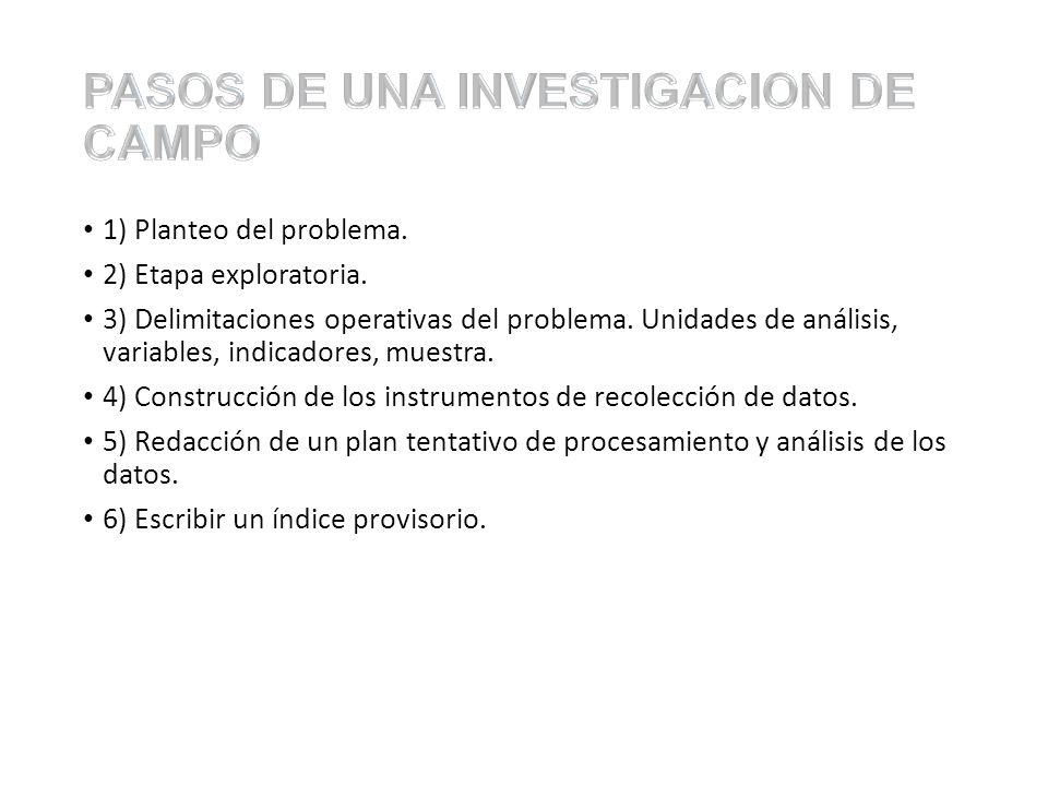 PASOS DE UNA INVESTIGACION DE CAMPO