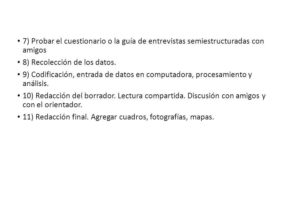 7) Probar el cuestionario o la guía de entrevistas semiestructuradas con amigos