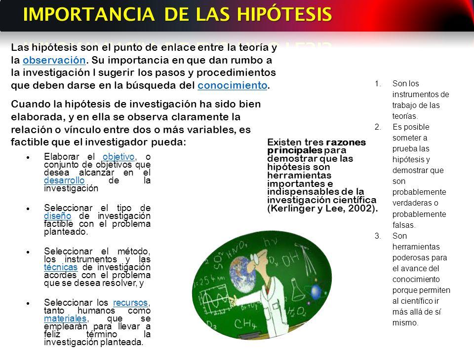 IMPORTANCIA DE LAS HIPÓTESIS