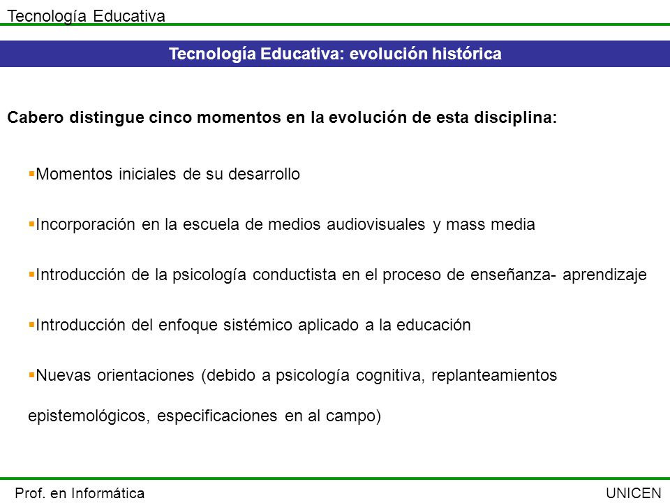 Tecnología Educativa: evolución histórica