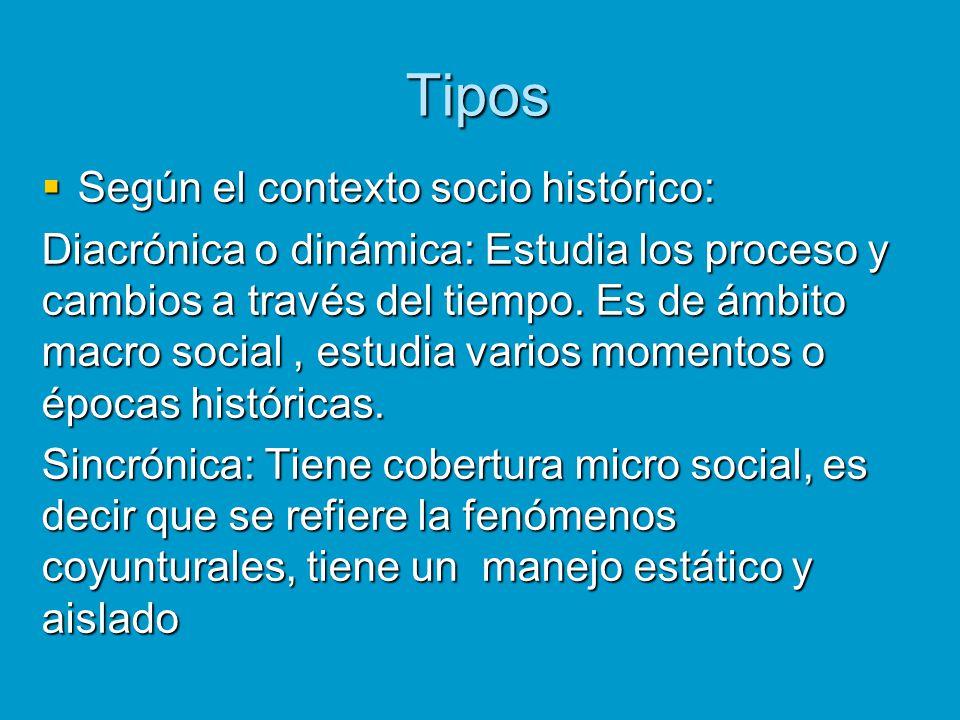 Tipos Según el contexto socio histórico: