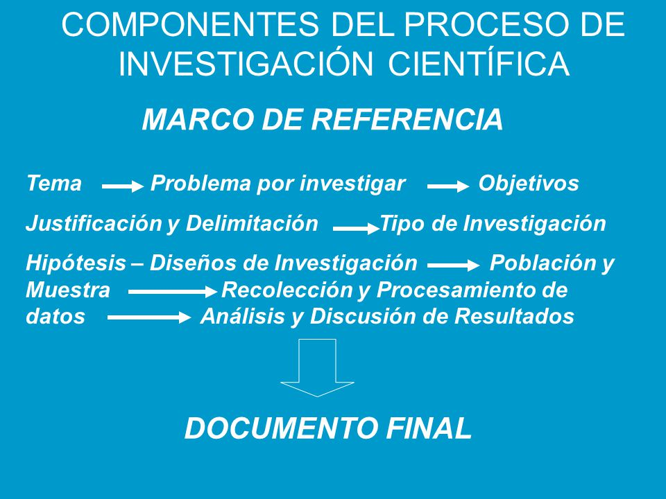 COMPONENTES DEL PROCESO DE INVESTIGACIÓN CIENTÍFICA