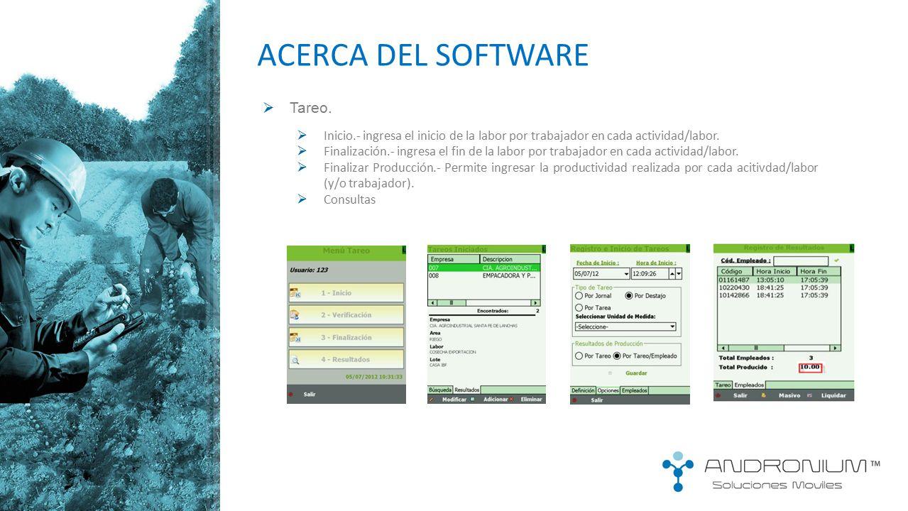 ACERCA DEL SOFTWARE Tareo.