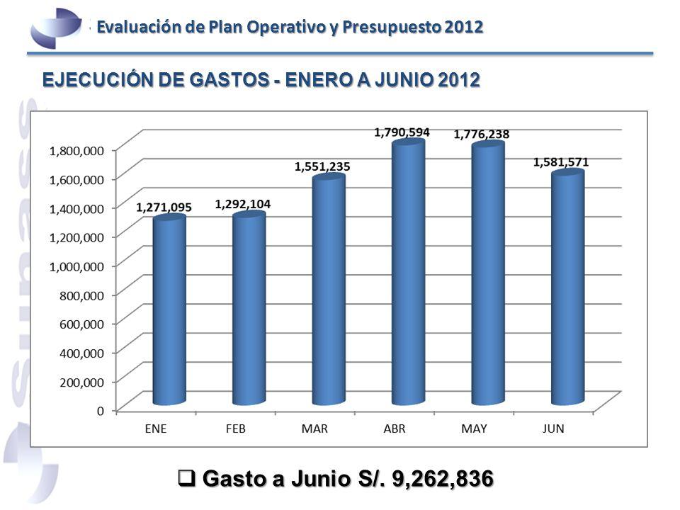 EJECUCIÓN DE GASTOS - ENERO A JUNIO 2012