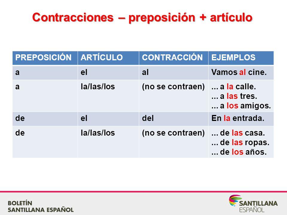 Contracciones – preposición + artículo