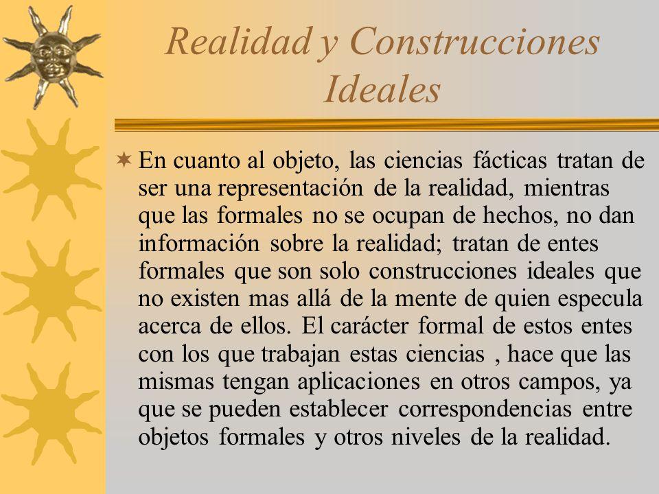 Realidad y Construcciones Ideales