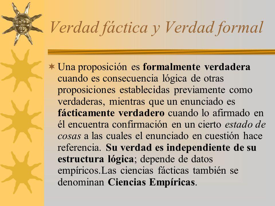 Verdad fáctica y Verdad formal