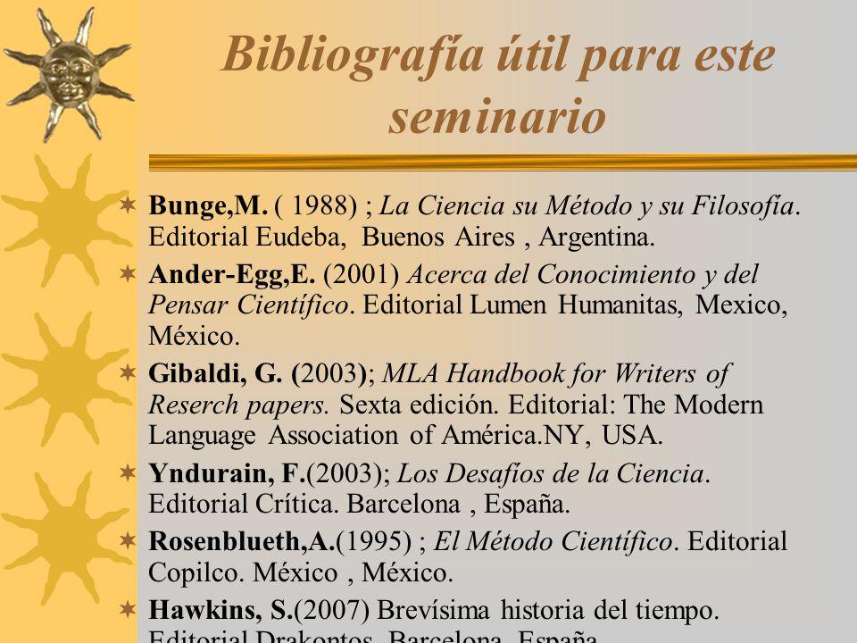 Bibliografía útil para este seminario