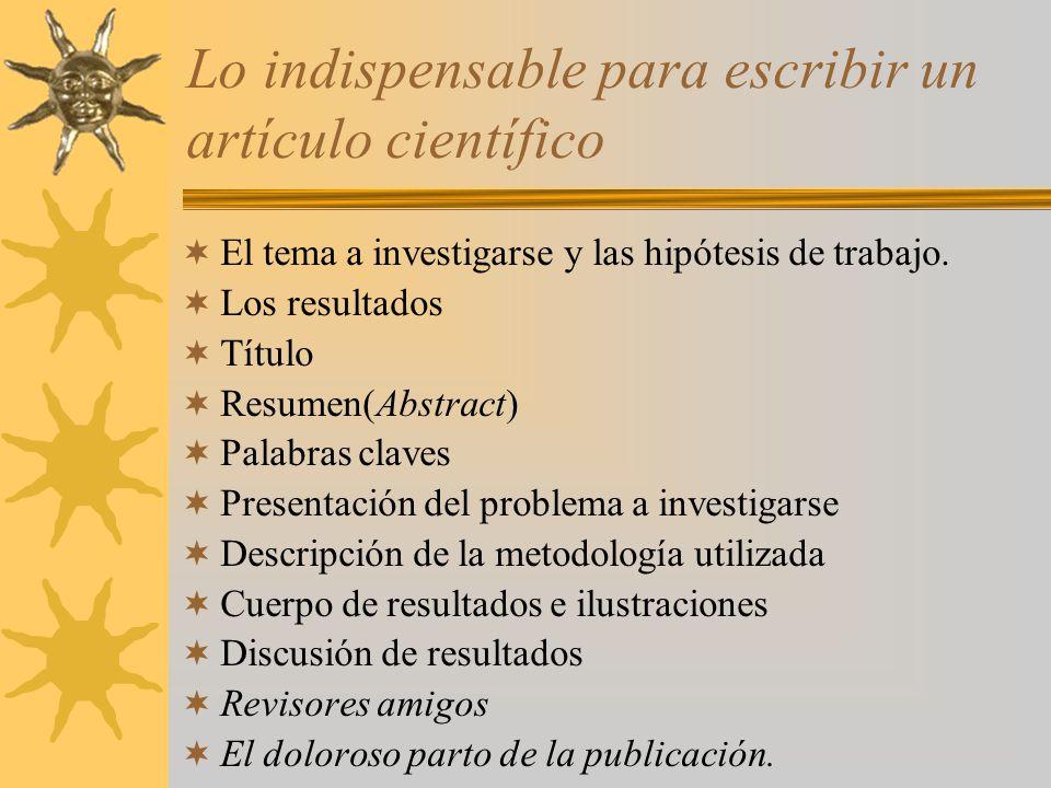Lo indispensable para escribir un artículo científico