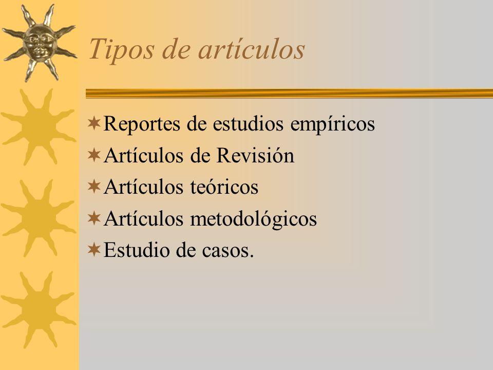 Tipos de artículos Reportes de estudios empíricos