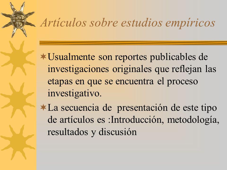 Artículos sobre estudios empíricos