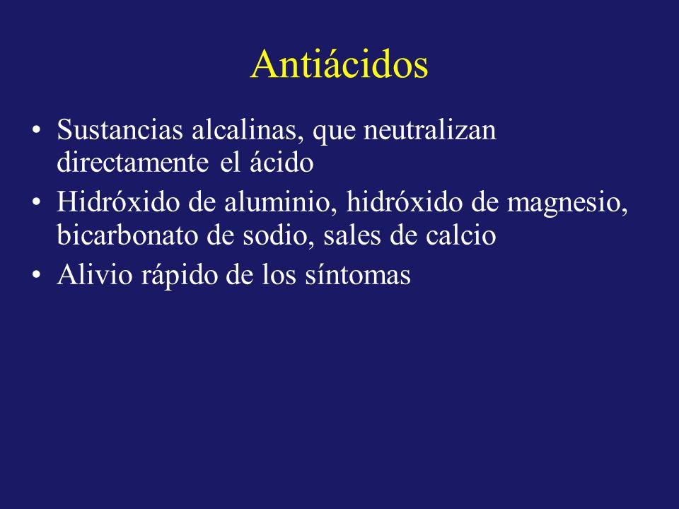 Antiácidos Sustancias alcalinas, que neutralizan directamente el ácido