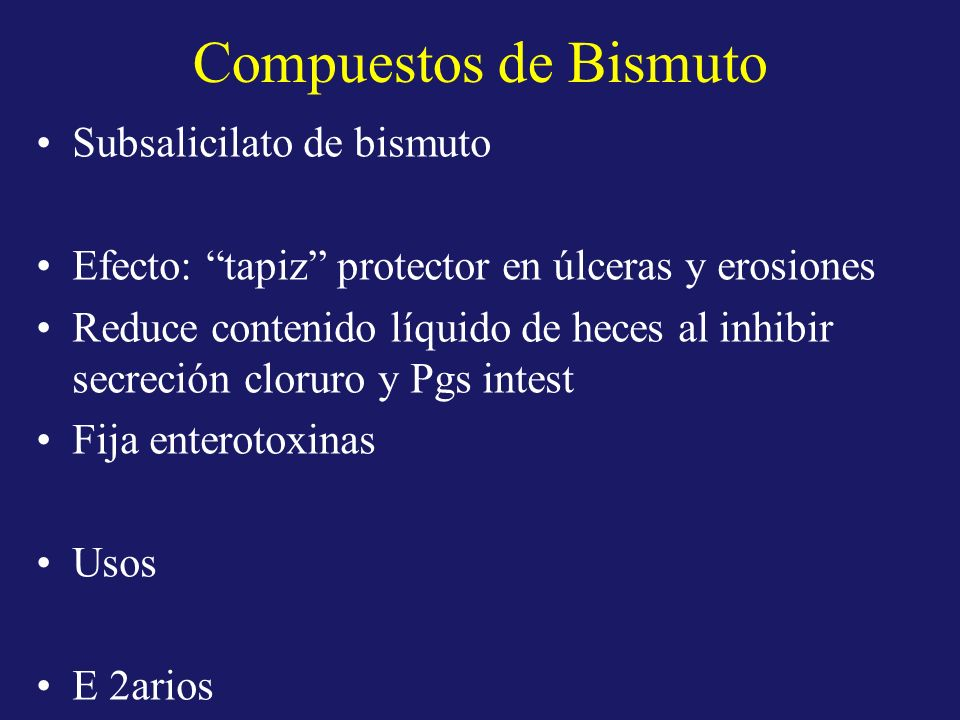 Compuestos de Bismuto Subsalicilato de bismuto