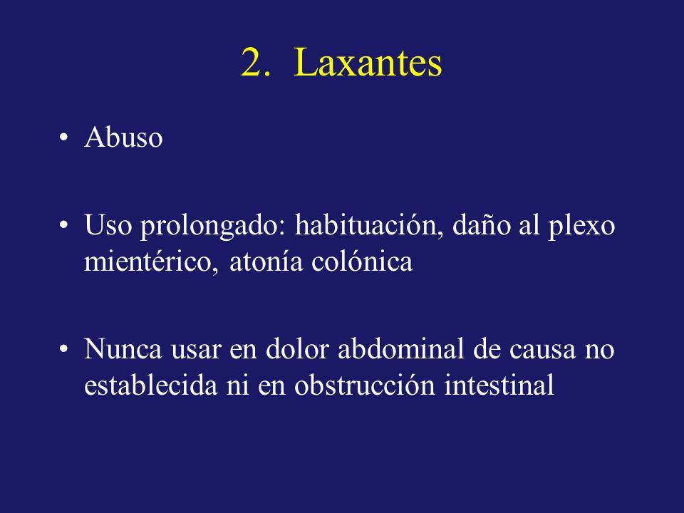 2. Laxantes Abuso. Uso prolongado: habituación, daño al plexo mientérico, atonía colónica.