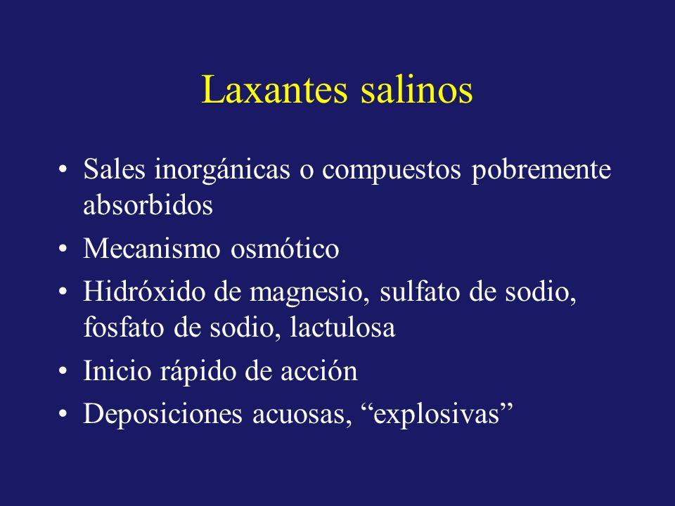 Laxantes salinos Sales inorgánicas o compuestos pobremente absorbidos